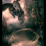 木村俊幸「インドラ少年と空飛ぶ機械の象」リトグラフ